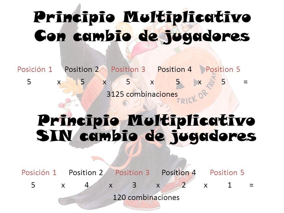 Principio Multiplicativo Con cambio de jugadores