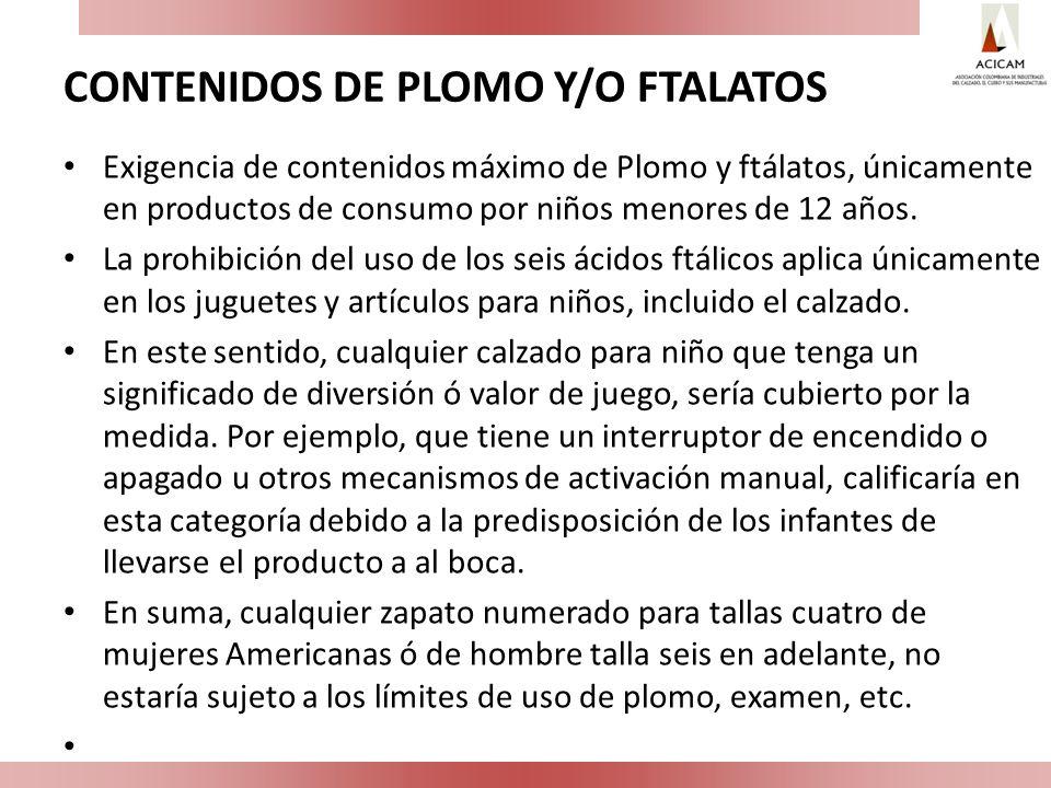 CONTENIDOS DE PLOMO Y/O FTALATOS