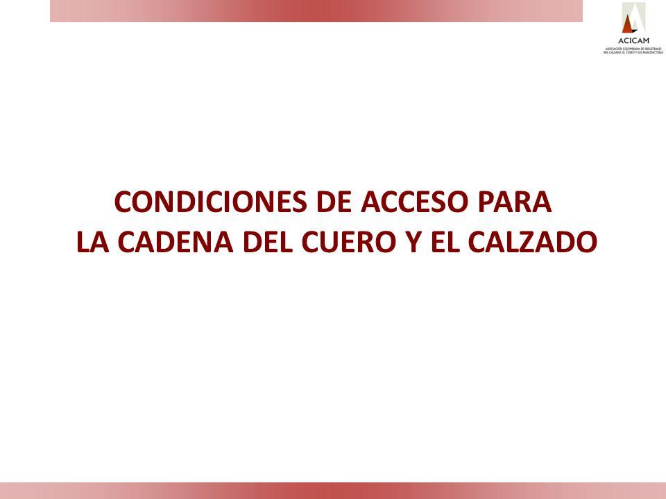 CONDICIONES DE ACCESO PARA LA CADENA DEL CUERO Y EL CALZADO