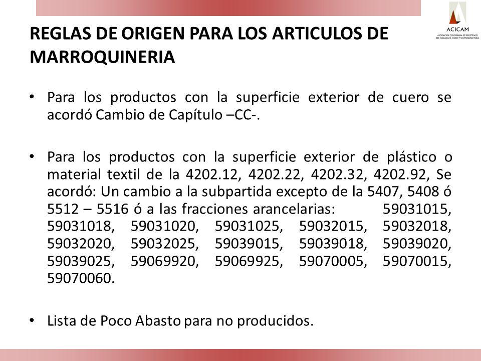 REGLAS DE ORIGEN PARA LOS ARTICULOS DE MARROQUINERIA