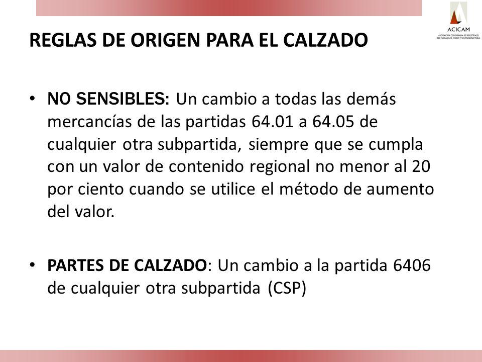 REGLAS DE ORIGEN PARA EL CALZADO