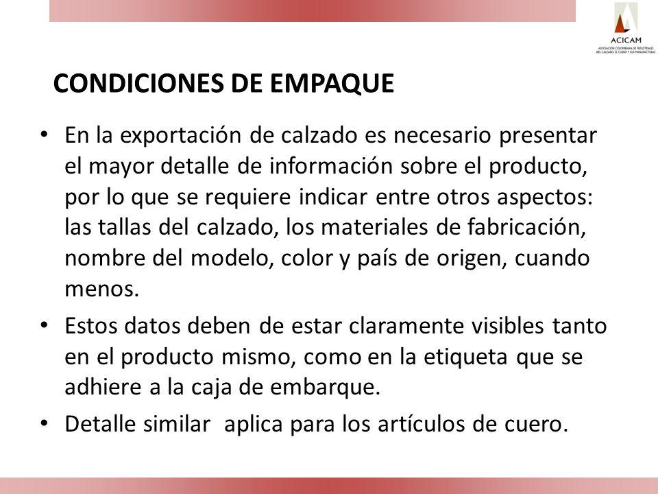 CONDICIONES DE EMPAQUE
