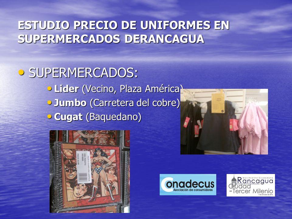ESTUDIO PRECIO DE UNIFORMES EN SUPERMERCADOS DERANCAGUA