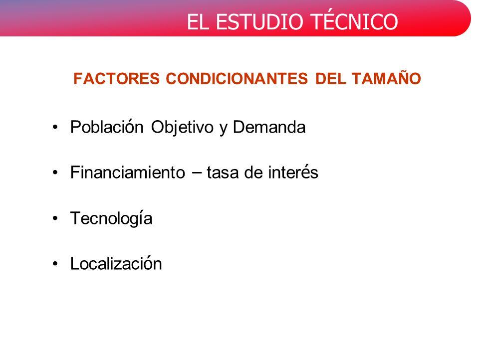 FACTORES CONDICIONANTES DEL TAMAÑO