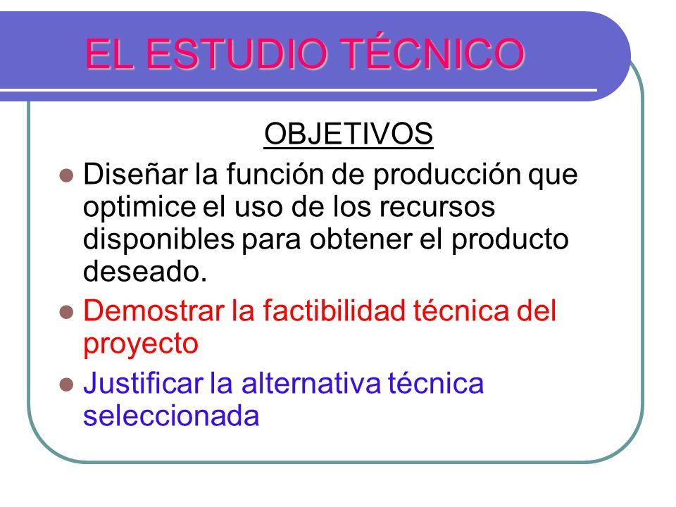 EL ESTUDIO TÉCNICO OBJETIVOS