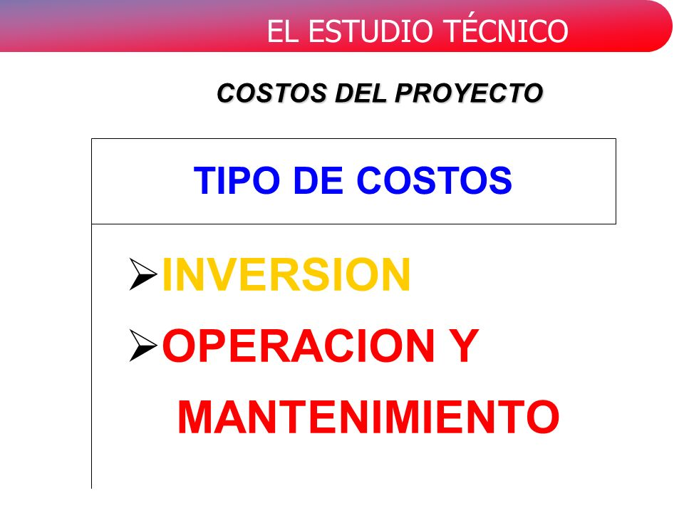 COSTOS DEL PROYECTO TIPO DE COSTOS INVERSION OPERACION Y MANTENIMIENTO