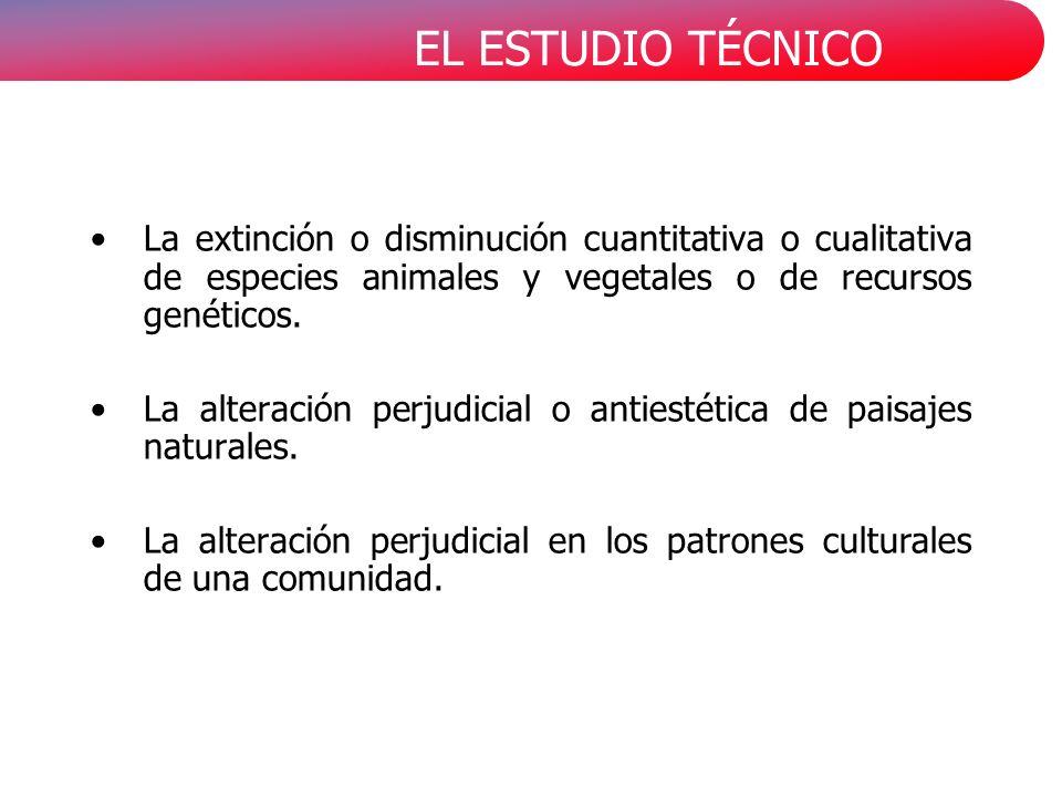 La extinción o disminución cuantitativa o cualitativa de especies animales y vegetales o de recursos genéticos.