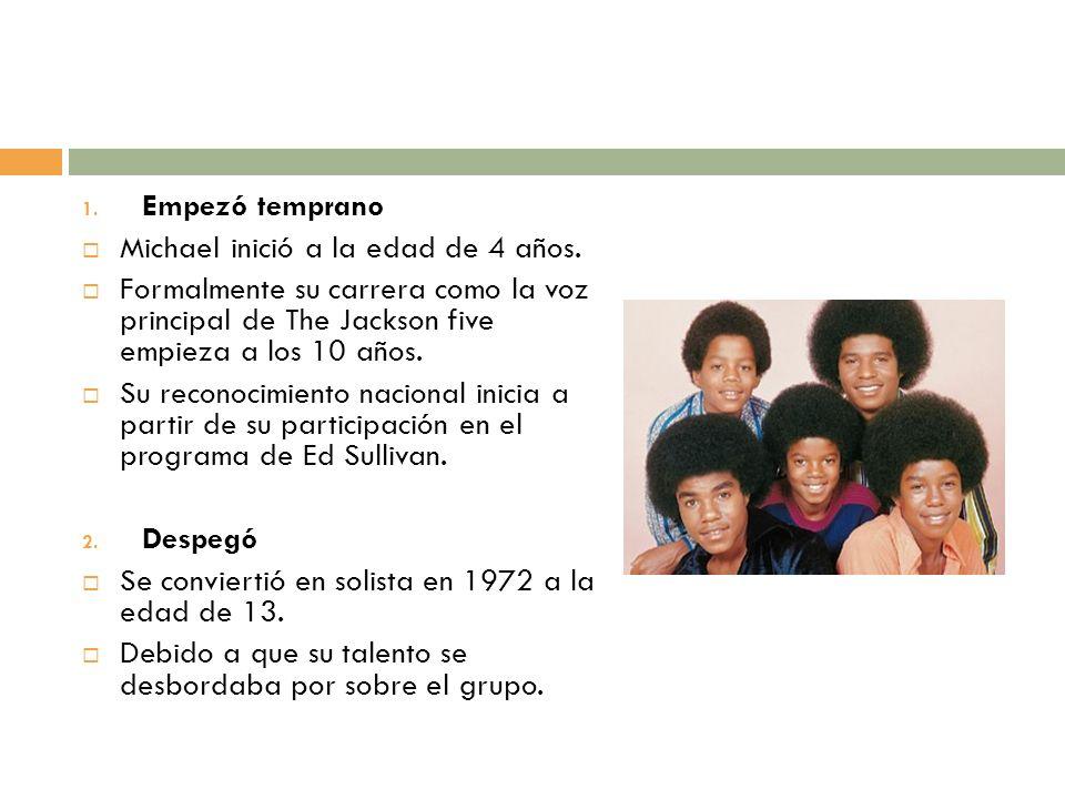 Empezó temprano Michael inició a la edad de 4 años. Formalmente su carrera como la voz principal de The Jackson five empieza a los 10 años.