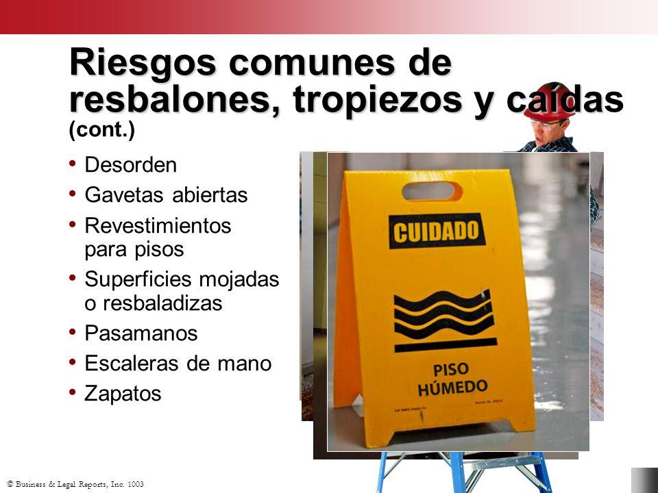 Riesgos comunes de resbalones, tropiezos y caídas (cont.)