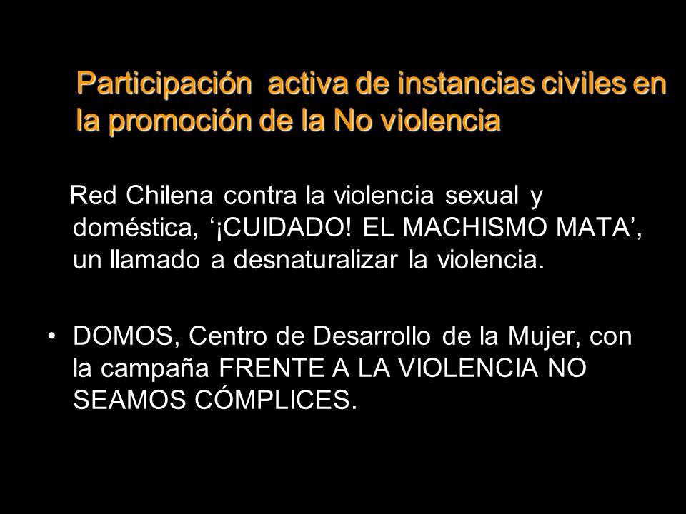Participación activa de instancias civiles en la promoción de la No violencia