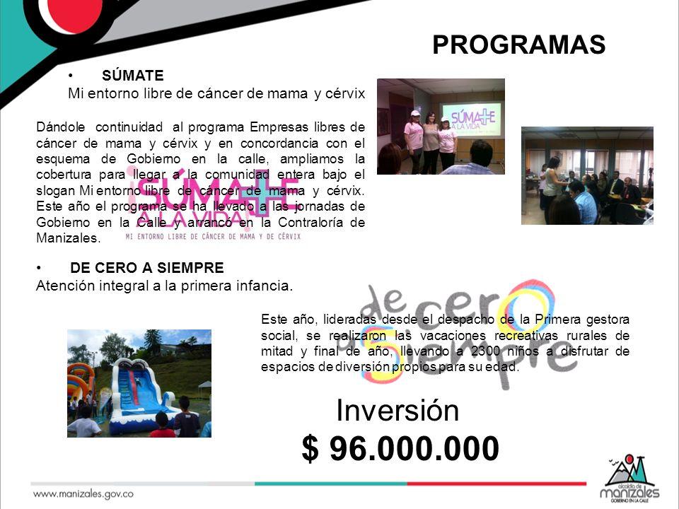 $ 96.000.000 Inversión PROGRAMAS SÚMATE