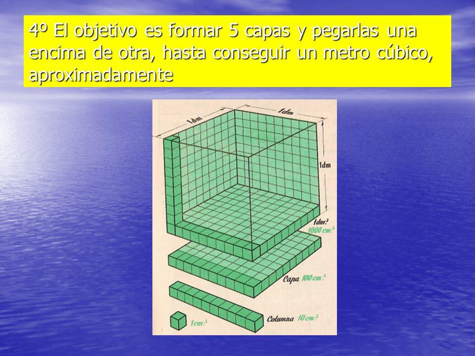 4º El objetivo es formar 5 capas y pegarlas una encima de otra, hasta conseguir un metro cúbico, aproximadamente