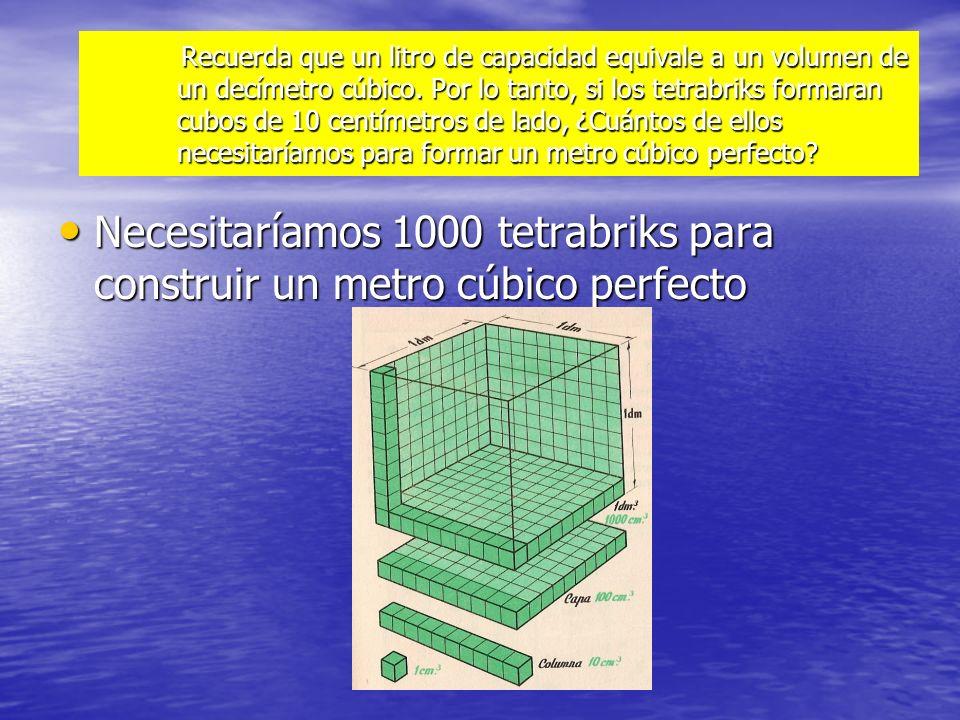 Necesitaríamos 1000 tetrabriks para construir un metro cúbico perfecto
