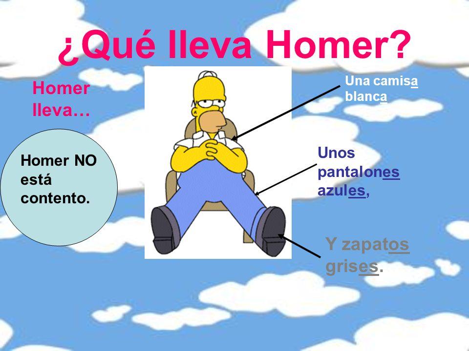 ¿Qué lleva Homer Homer lleva… Y zapatos grises.