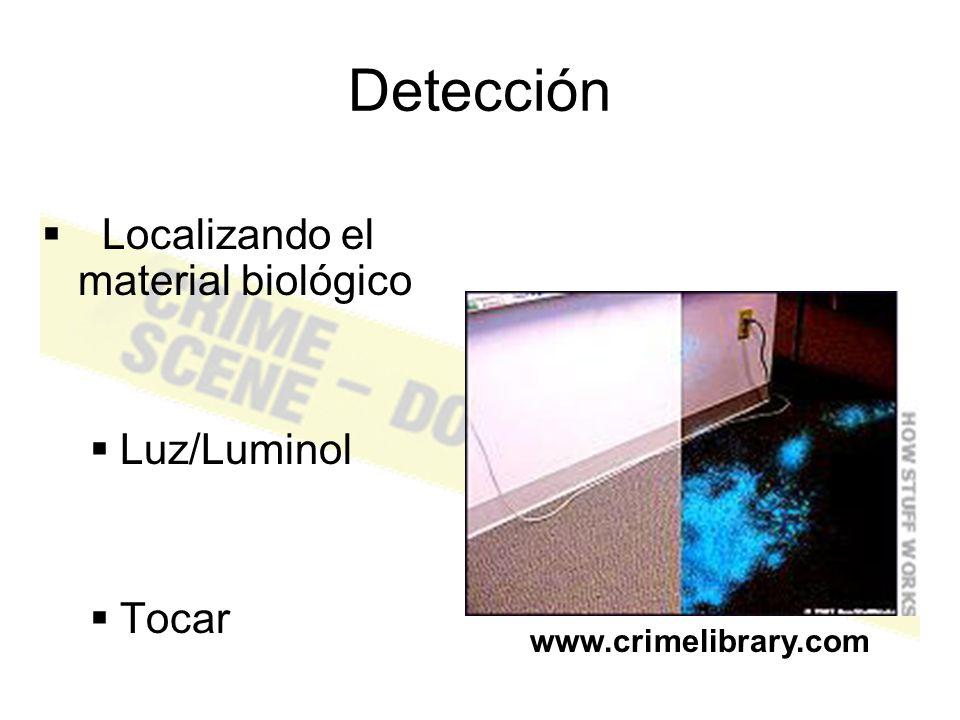 Detección Localizando el material biológico Luz/Luminol Tocar
