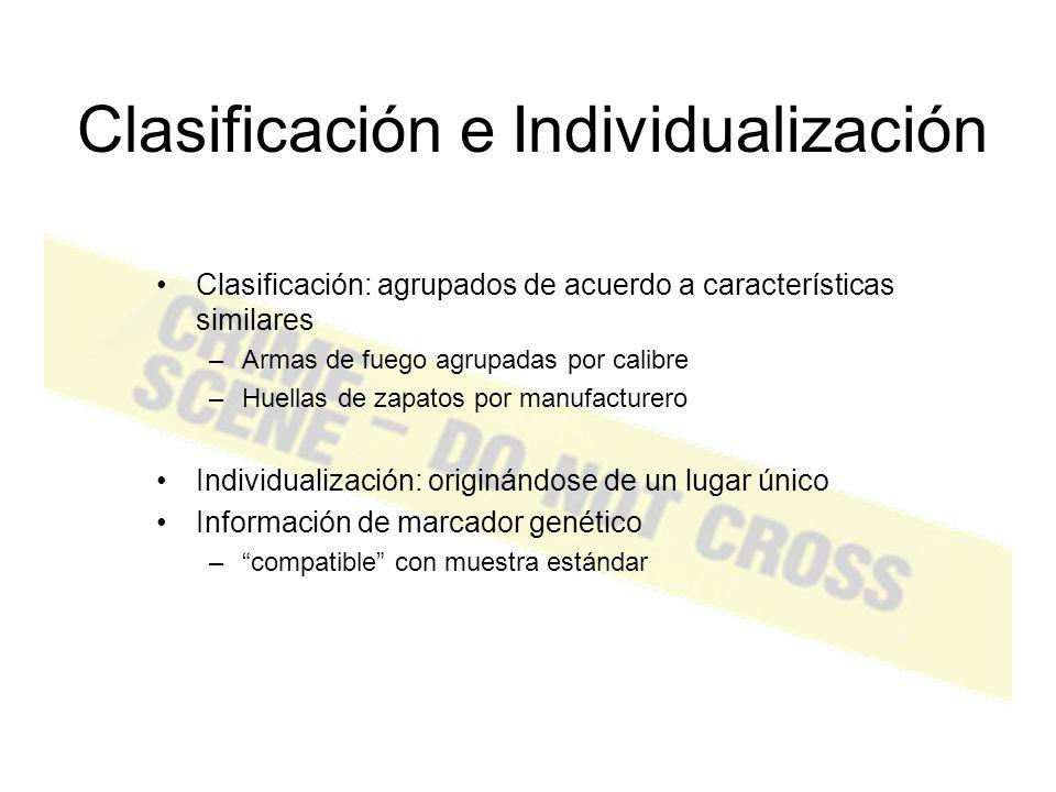 Clasificación e Individualización