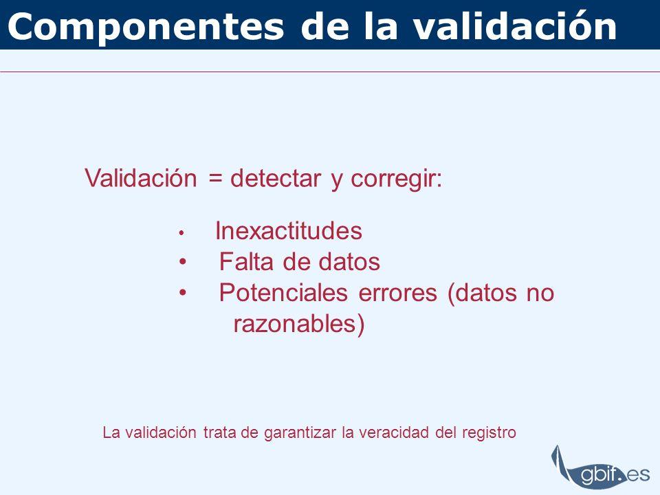 Componentes de la validación