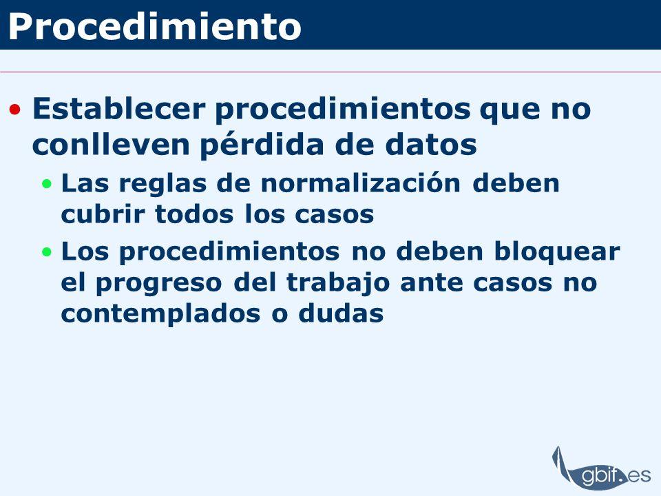 Procedimiento Establecer procedimientos que no conlleven pérdida de datos. Las reglas de normalización deben cubrir todos los casos.