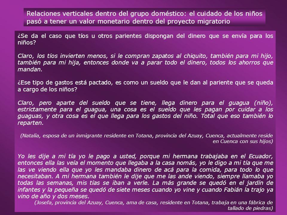 Relaciones verticales dentro del grupo doméstico: el cuidado de los niños pasó a tener un valor monetario dentro del proyecto migratorio