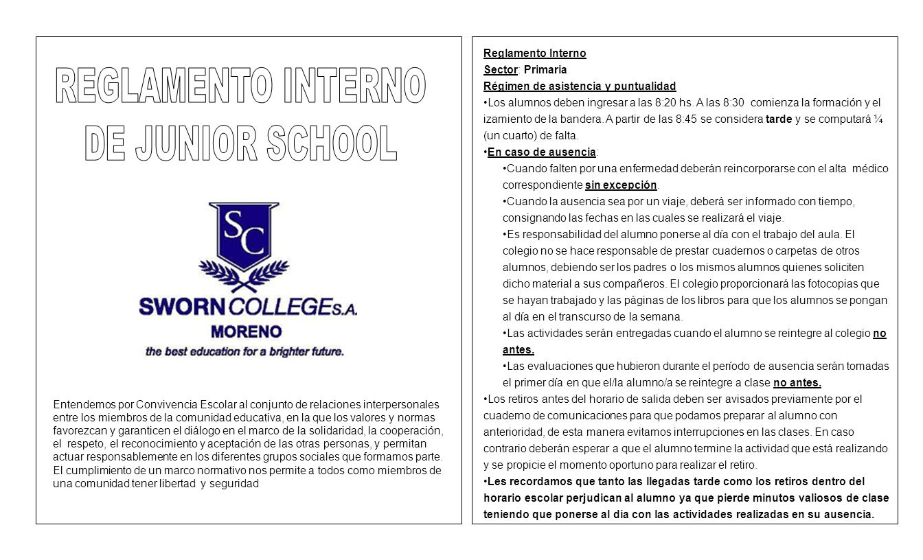 REGLAMENTO INTERNO DE JUNIOR SCHOOL Reglamento Interno