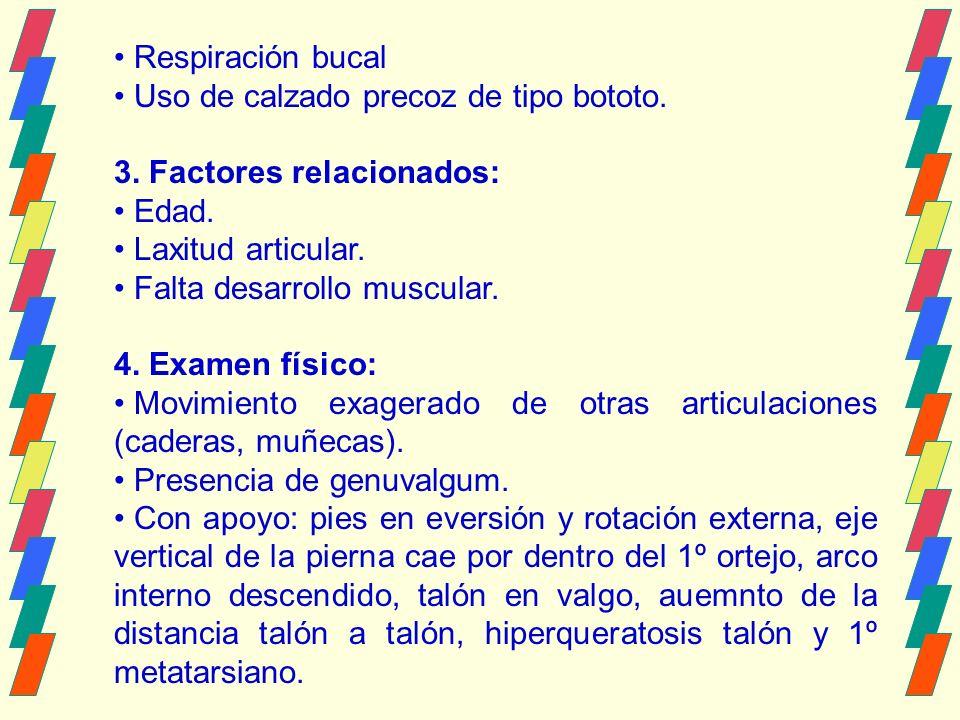 Respiración bucal Uso de calzado precoz de tipo bototo. 3. Factores relacionados: Edad. Laxitud articular.