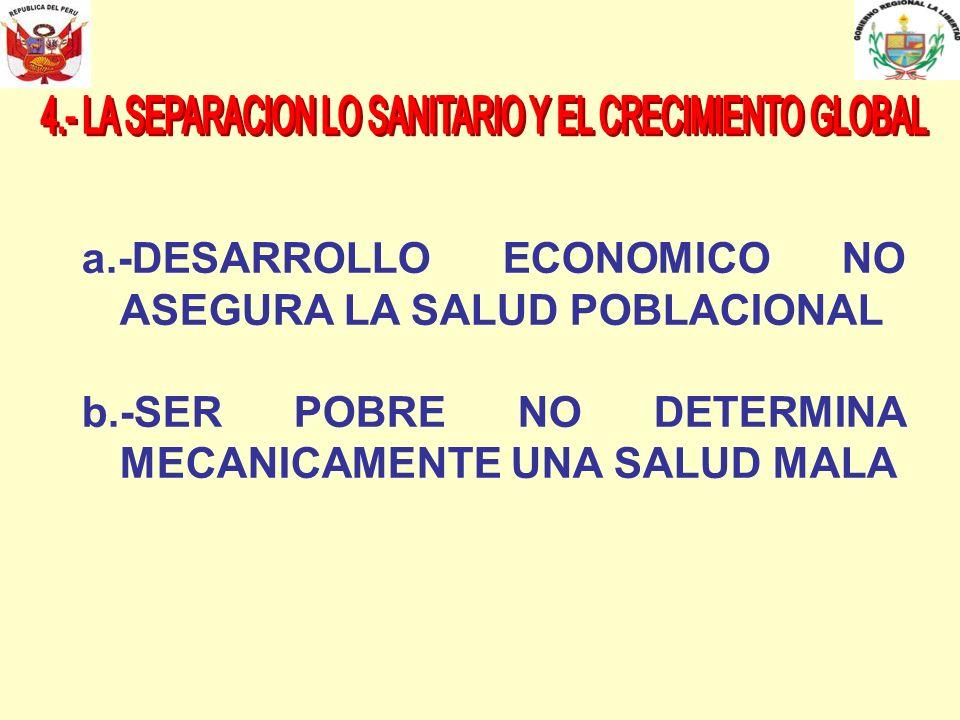 4.- LA SEPARACION LO SANITARIO Y EL CRECIMIENTO GLOBAL