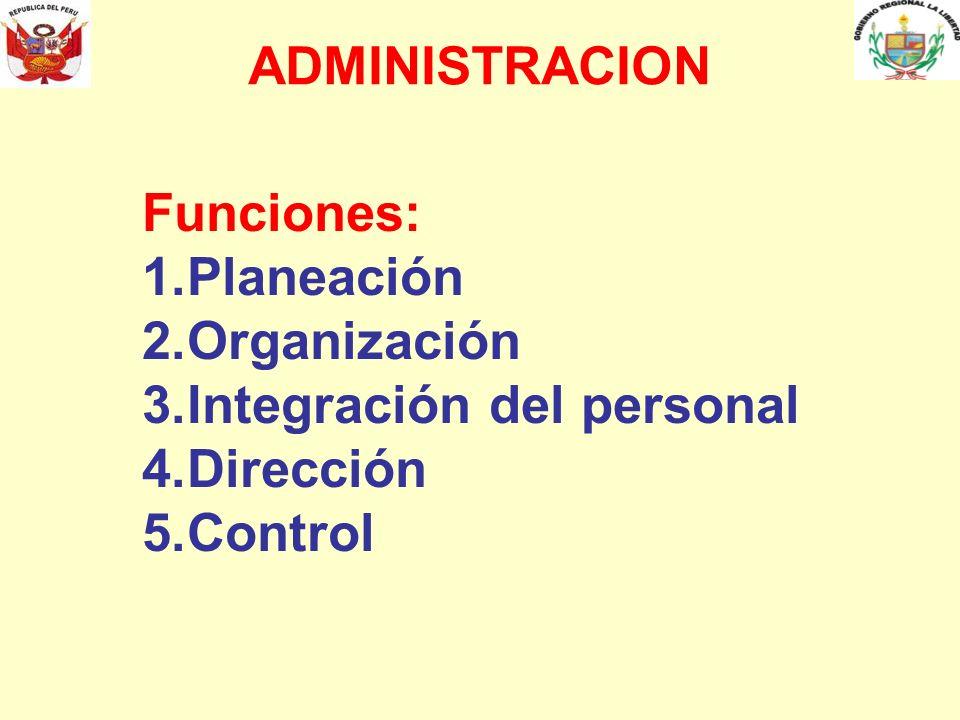 ADMINISTRACION Funciones: Planeación Organización Integración del personal Dirección Control