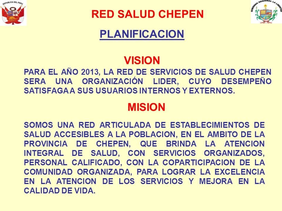 RED SALUD CHEPEN PLANIFICACION VISION MISION