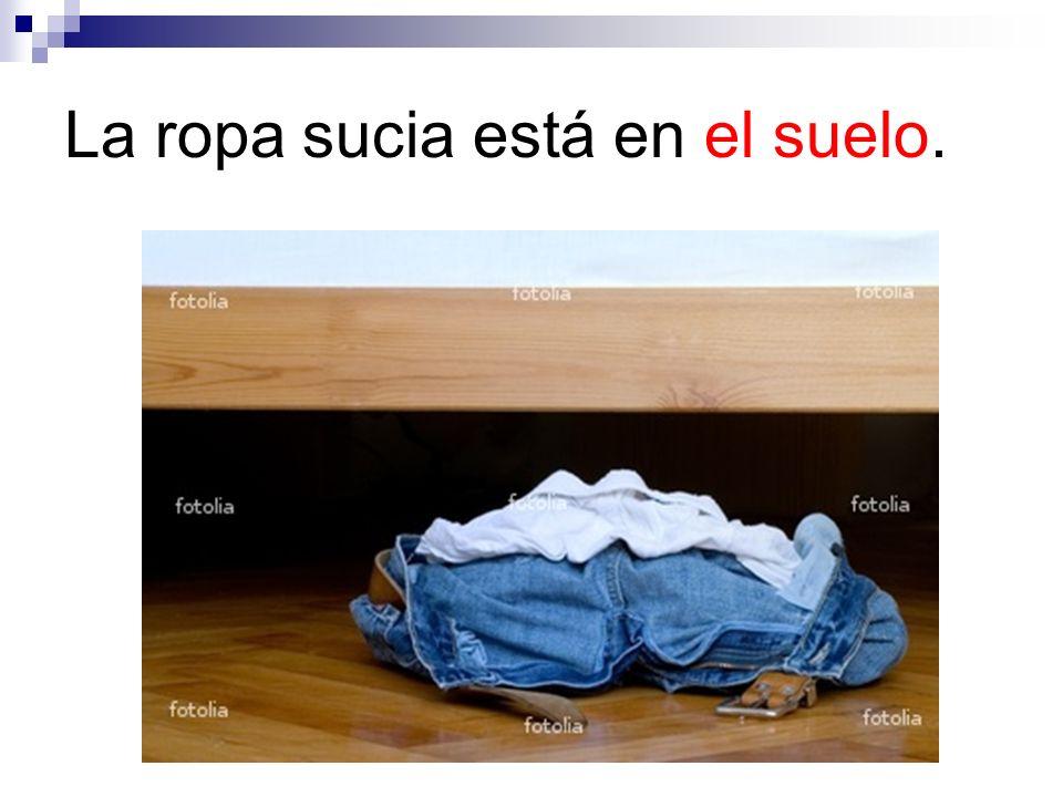 La ropa sucia está en el suelo.