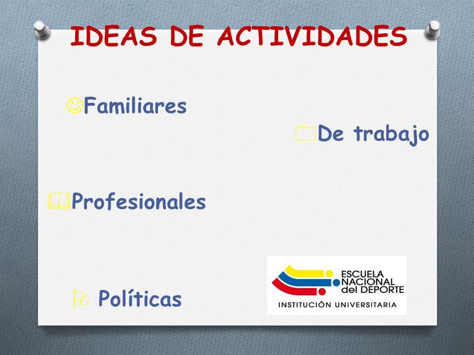 IDEAS DE ACTIVIDADES Familiares De trabajo Profesionales Políticas