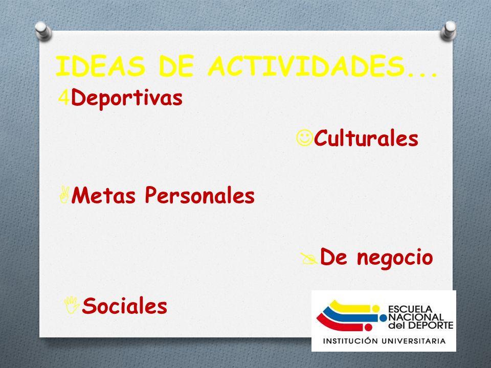 IDEAS DE ACTIVIDADES... Deportivas Culturales Metas Personales