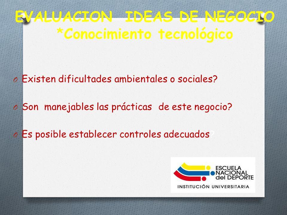 EVALUACION IDEAS DE NEGOCIO *Conocimiento tecnológico