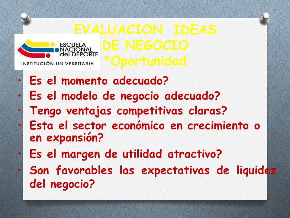 EVALUACION IDEAS DE NEGOCIO *Oportunidad