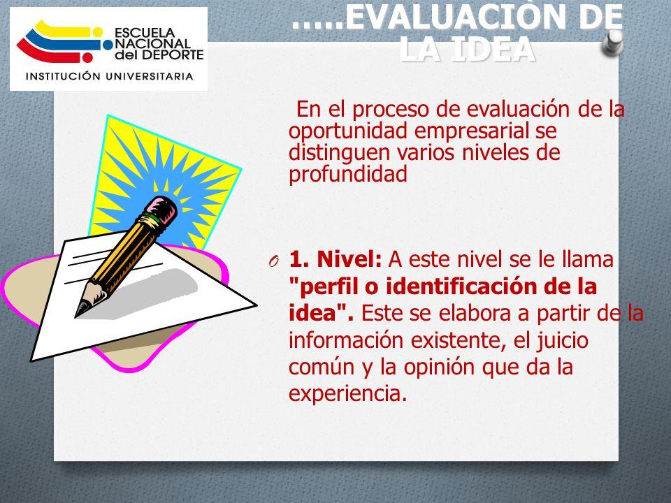 …..EVALUACIÒN DE LA IDEA En el proceso de evaluación de la oportunidad empresarial se distinguen varios niveles de profundidad.
