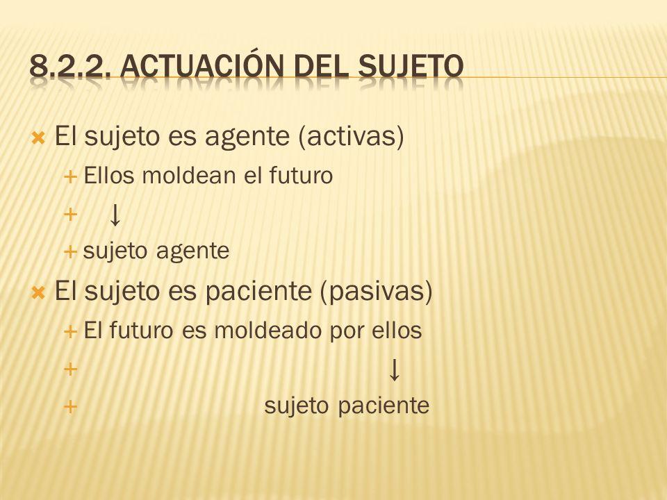 8.2.2. Actuación del sujeto El sujeto es agente (activas)