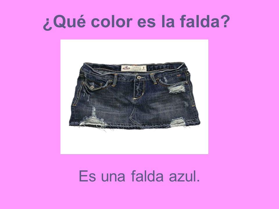 ¿Qué color es la falda Es una falda azul.