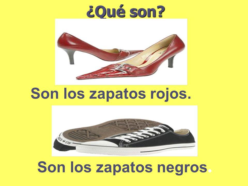 ¿Qué son Son los zapatos rojos. Son los zapatos negros.