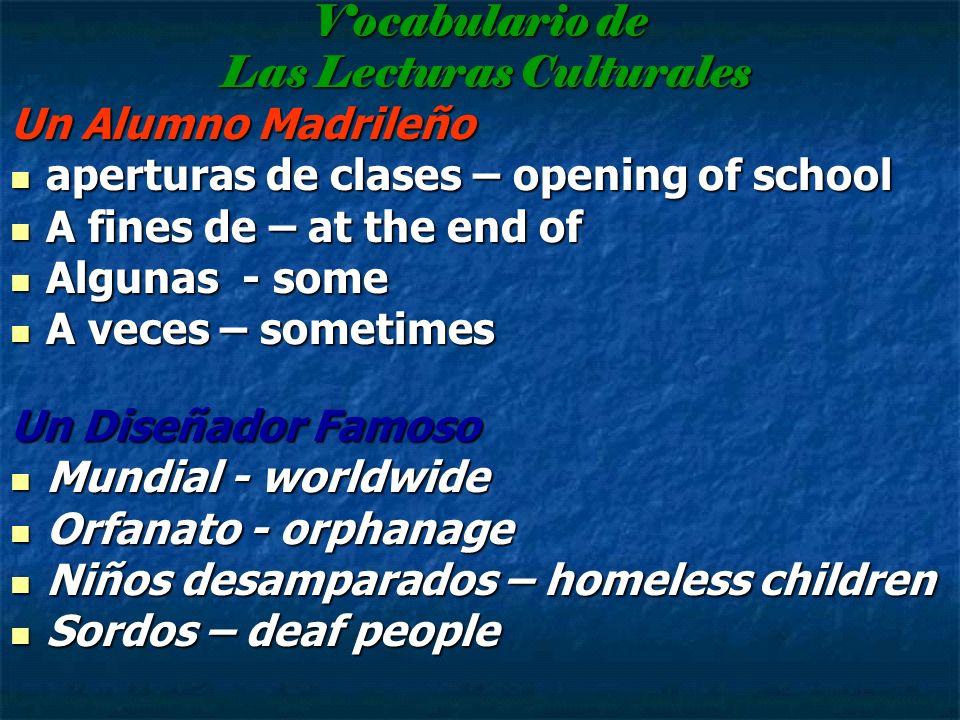 Vocabulario de Las Lecturas Culturales