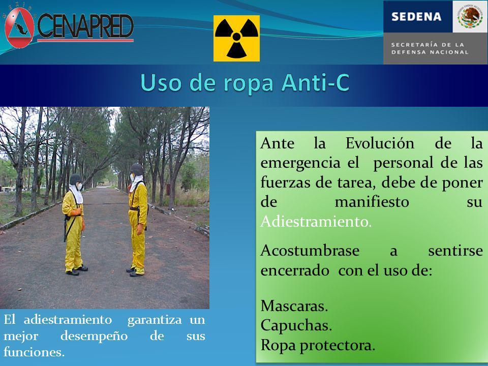 Uso de ropa Anti-C Ante la Evolución de la emergencia el personal de las fuerzas de tarea, debe de poner de manifiesto su Adiestramiento.