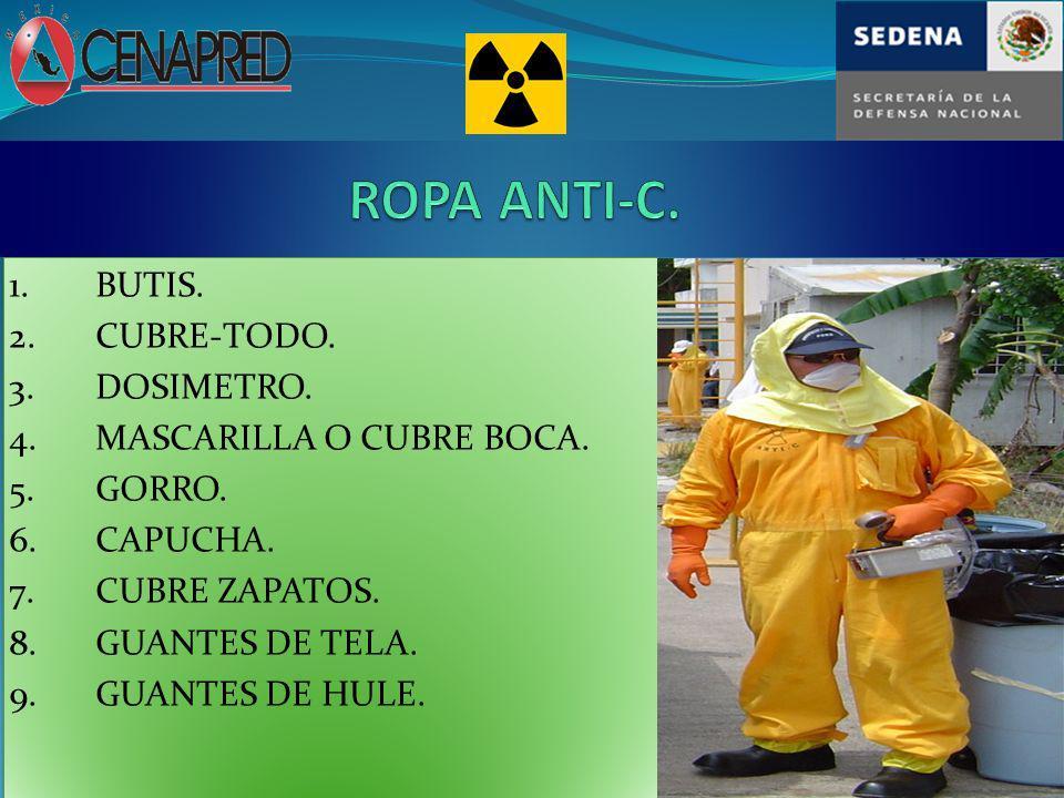 ROPA ANTI-C. 1. BUTIS. 2. CUBRE-TODO. 3. DOSIMETRO.