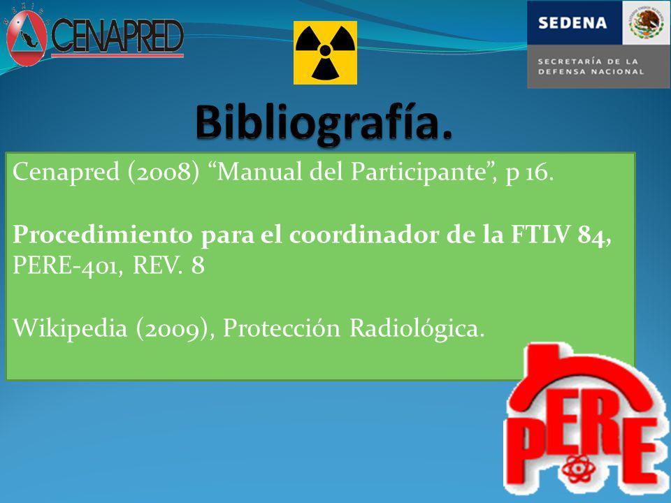 Bibliografía. Cenapred (2008) Manual del Participante , p 16.