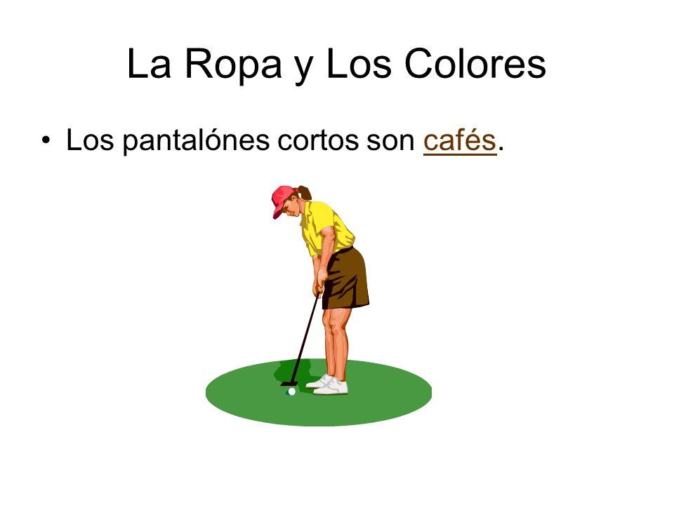 La Ropa y Los Colores Los pantalónes cortos son cafés.