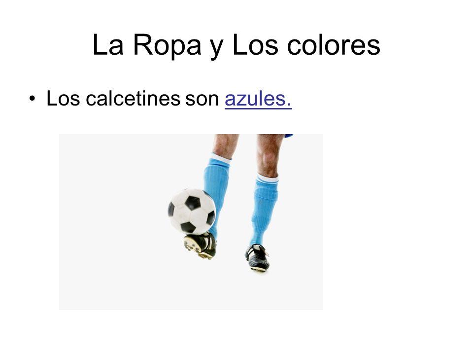La Ropa y Los colores Los calcetines son azules.