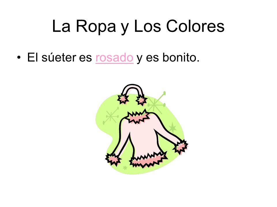 La Ropa y Los Colores El súeter es rosado y es bonito.