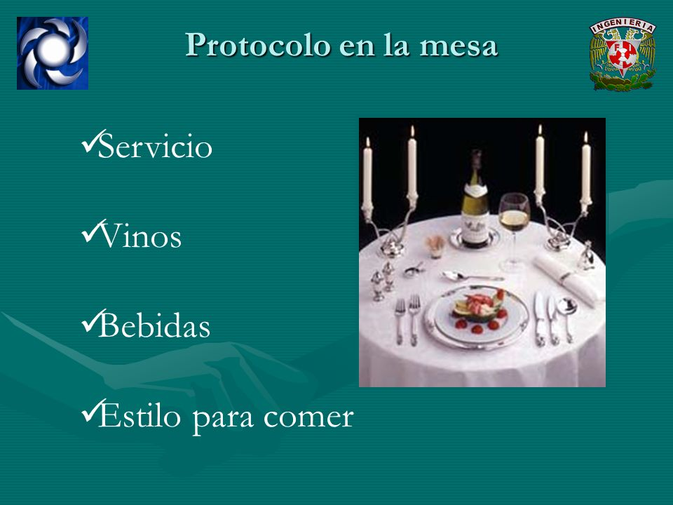 Protocolo en la mesa Servicio Vinos Bebidas Estilo para comer