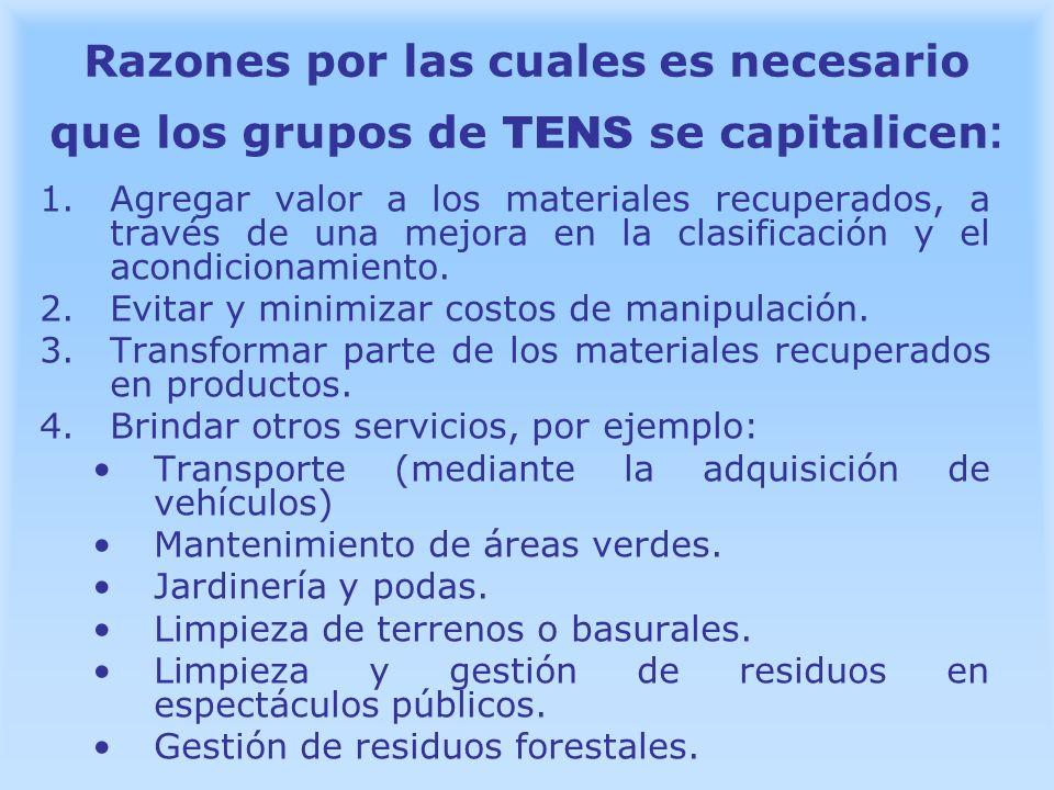 Razones por las cuales es necesario que los grupos de TENS se capitalicen: