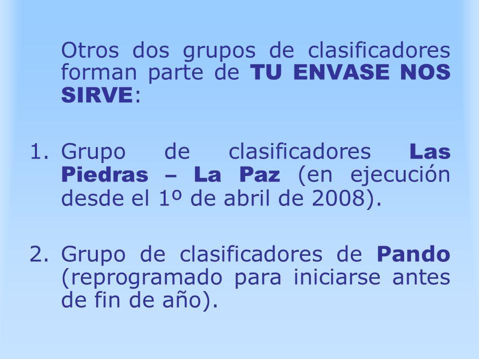 Otros dos grupos de clasificadores forman parte de TU ENVASE NOS SIRVE:
