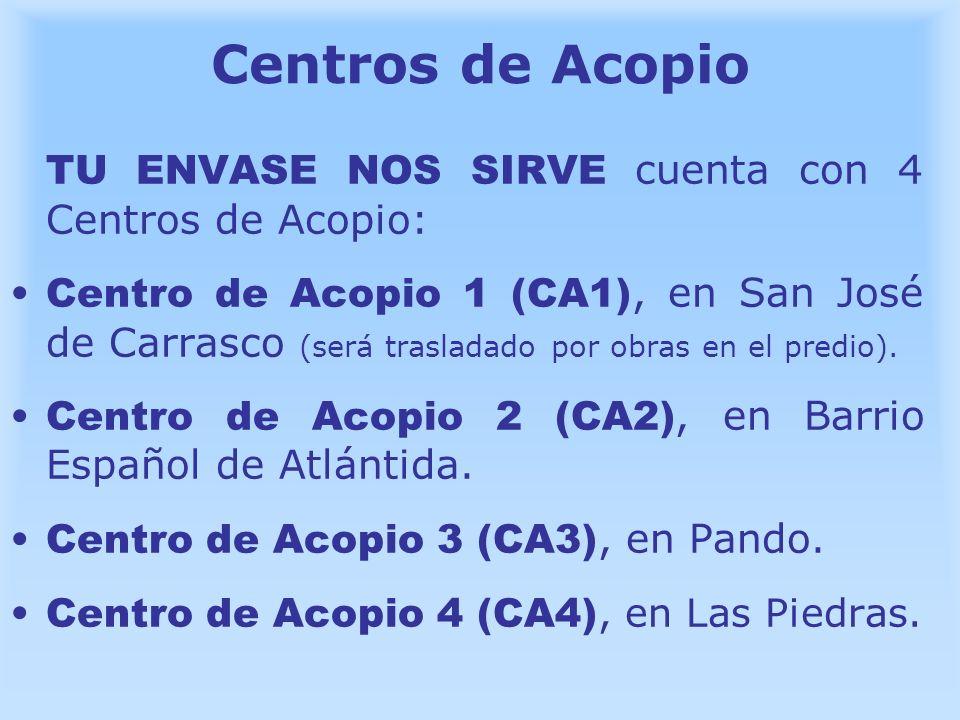 Centros de Acopio TU ENVASE NOS SIRVE cuenta con 4 Centros de Acopio:
