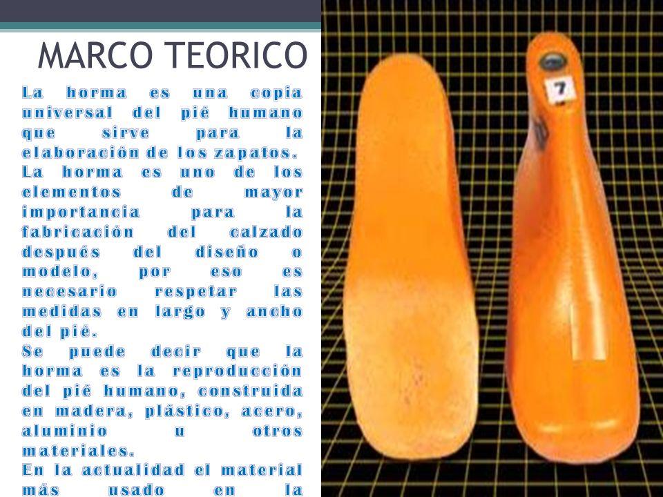 MARCO TEORICO La horma es una copia universal del pié humano que sirve para la elaboración de los zapatos.