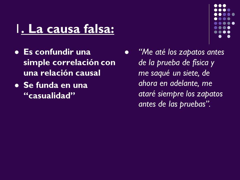 1. La causa falsa: Es confundir una simple correlación con una relación causal. Se funda en una casualidad